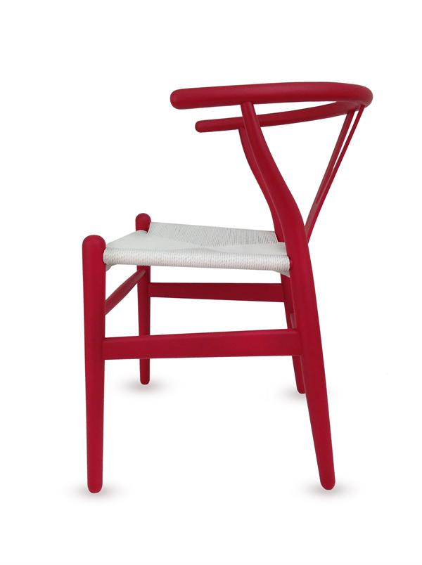 Wishbone dining chair red black white natural brown for Wishbone chair table