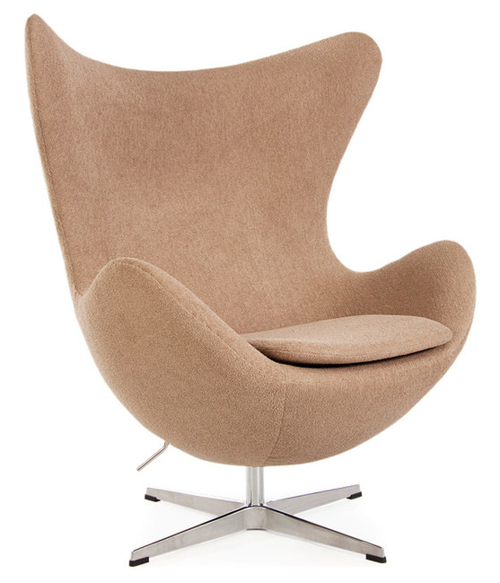 Arne jacobsen style egg in cashmere wool or leather for Chaise arne jacobsen
