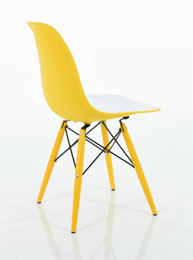 Molded Plastic Side Chair In Double Color Seat With