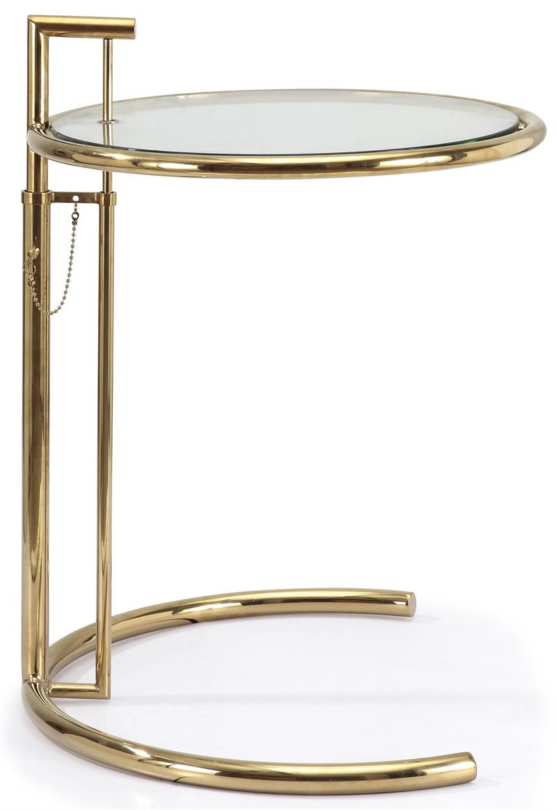 Eileen Gray Side Table In Gold Finish