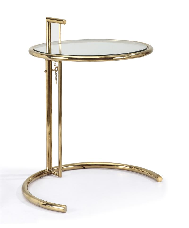 eileen gray side table in gold finish side tables and end tables free shipping. Black Bedroom Furniture Sets. Home Design Ideas