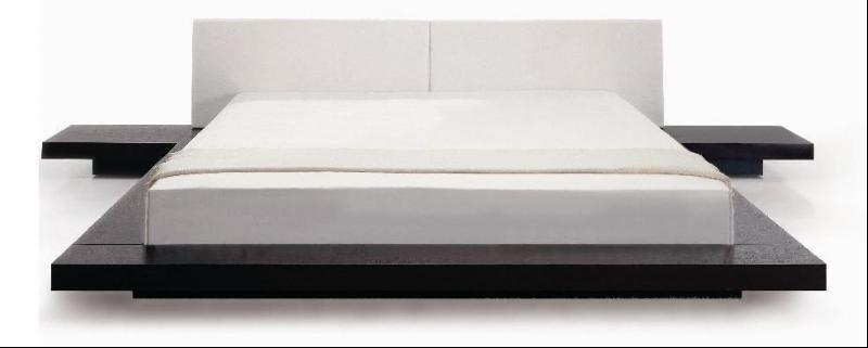 Worth Japanese Style Platform Bed- White Headboard