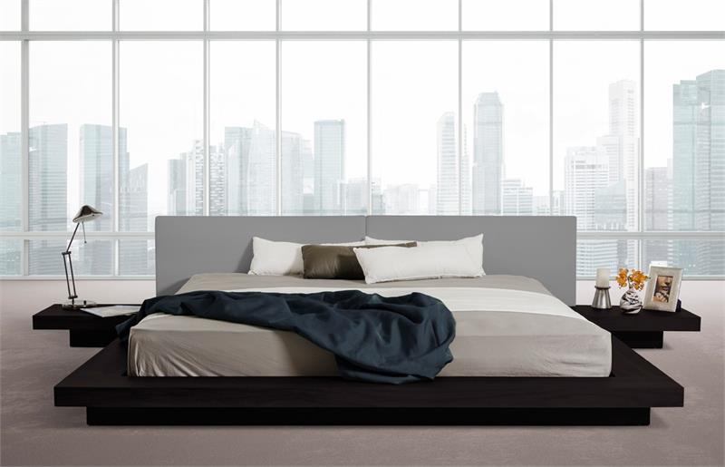 Japanese Style Platform Bed Frame Wenge Walnut Black: platform bed japanese style