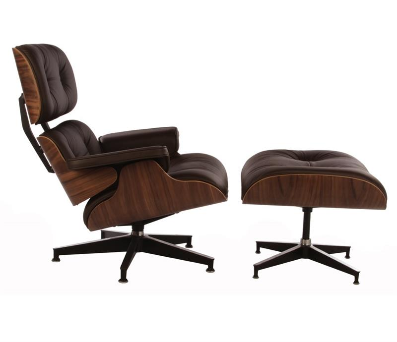 Classic Lounge Chair And Ottoman Lux Leather Walnut Or