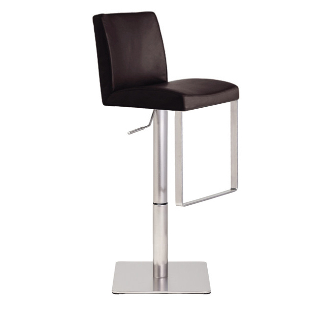 Teo Bar Stool Brushed Stainless Steel Leather Seat