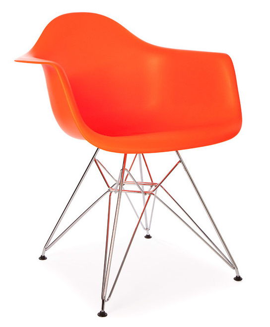 Molded Plastic Armchair With Metal Legs Or Wooden Legs