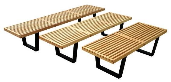 Slat Platform Bench Hardwood 3 Sizes 4 Wood Finishes