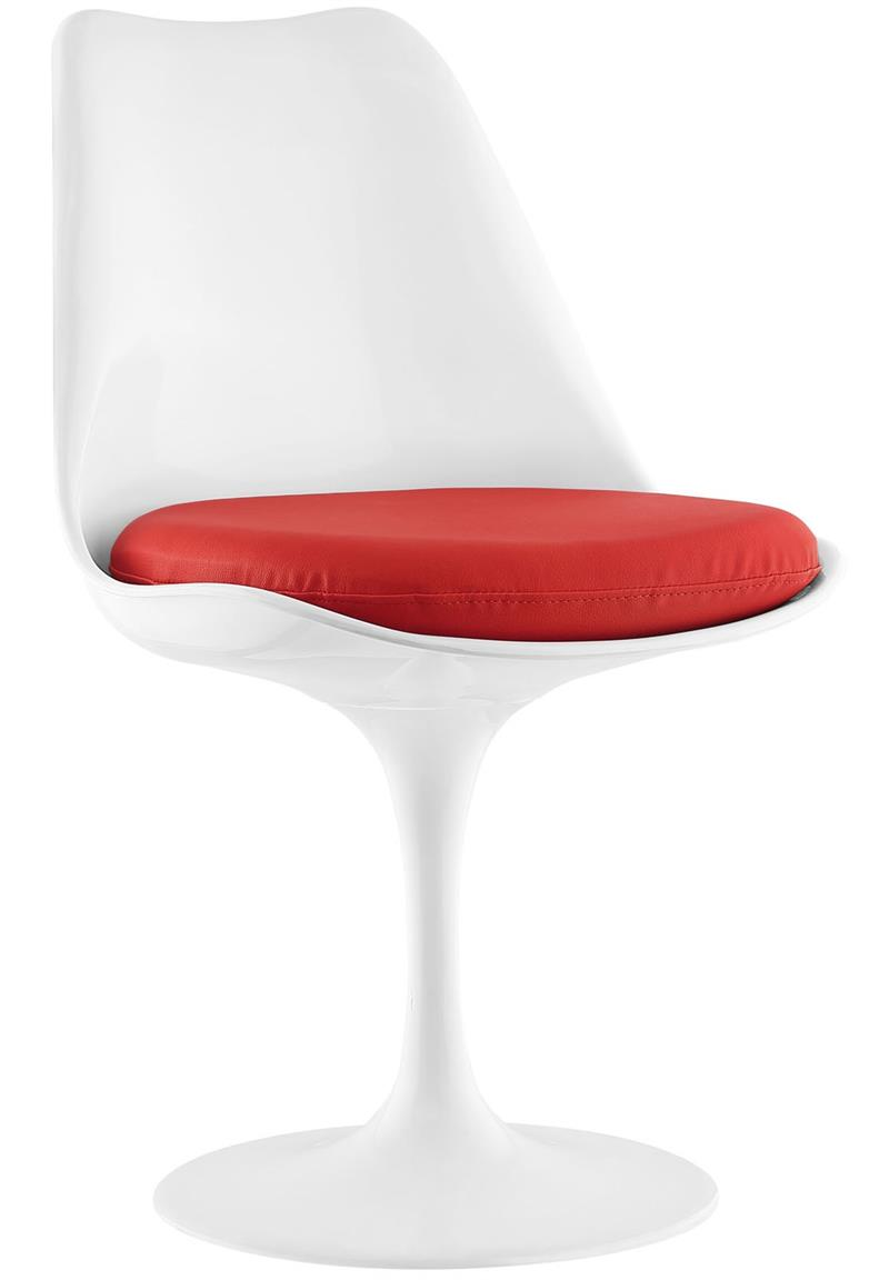 Saarinen Style Tulip Chair With Leatherette Cushion 7