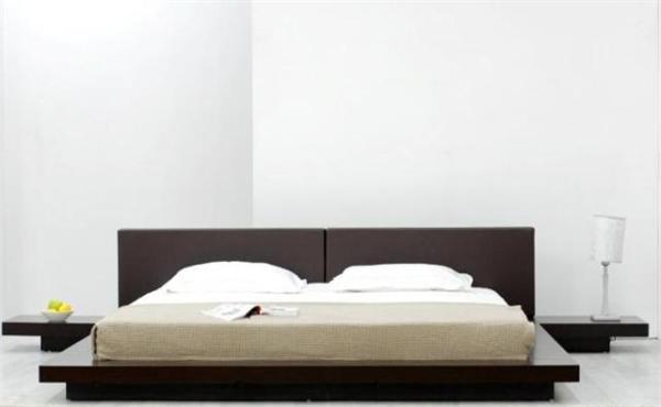 japanese style platform bed brown headboard