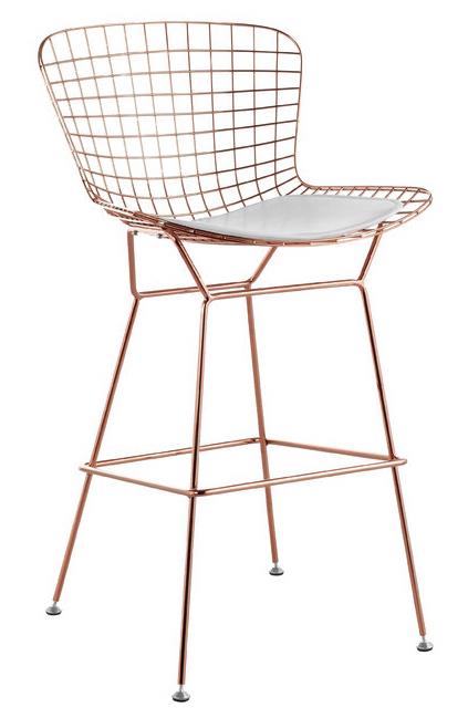 bertoia wire bar stool in rose gold finish