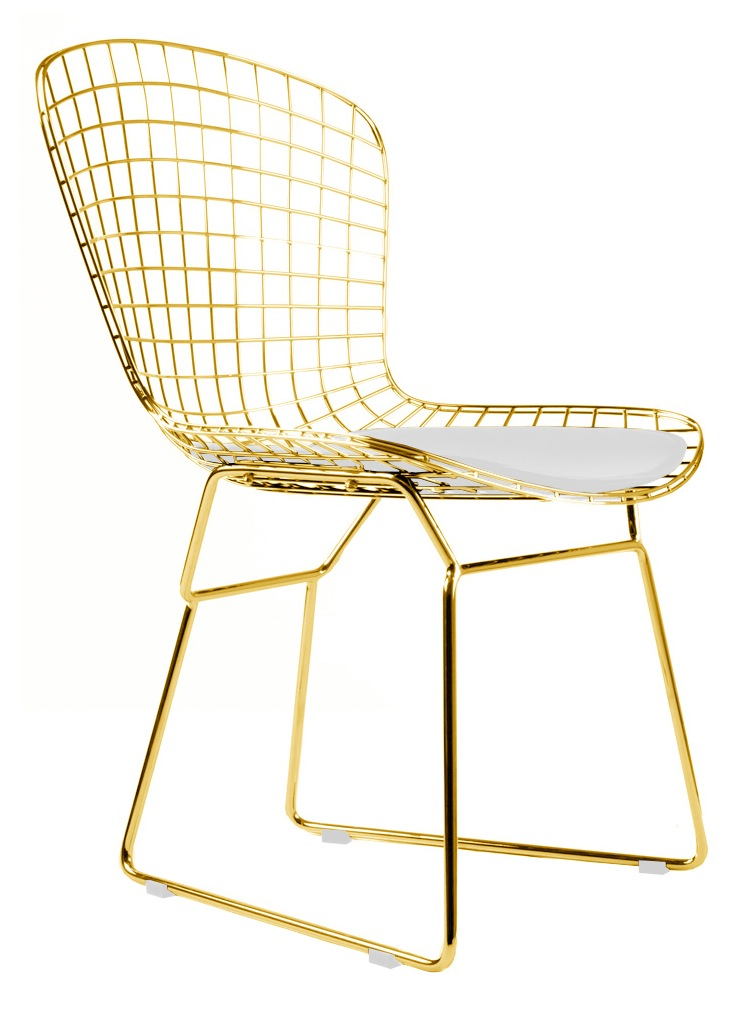 Bertoia Wire Side Chair In Gold Finish