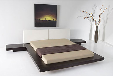 Japanese Style Platform Bed Frame Wenge Walnut Black