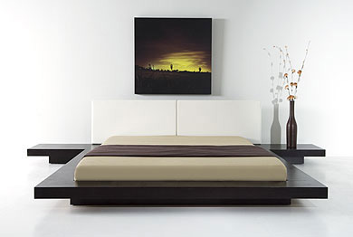 Japanese style platform bed frame wenge walnut black - Modern japanese bedroom furniture ...
