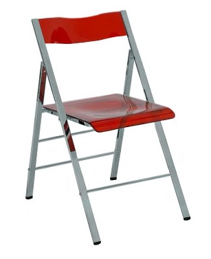 Clarity Acrylic Folding Chairs In Clear Orange Red