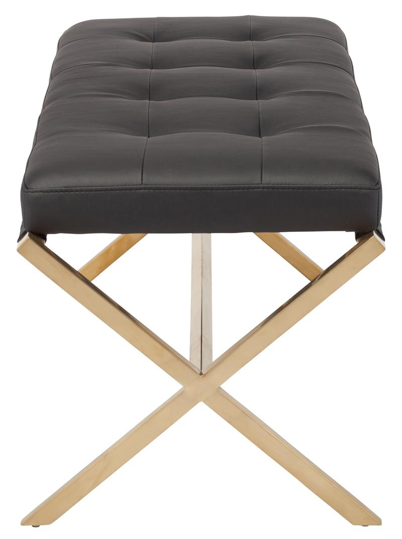Nuevo Gold Auguste Bench Black And White Naugahyde