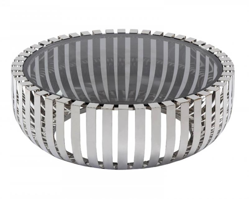 Conch Round Coffee Table Stainless Steel Base Modern