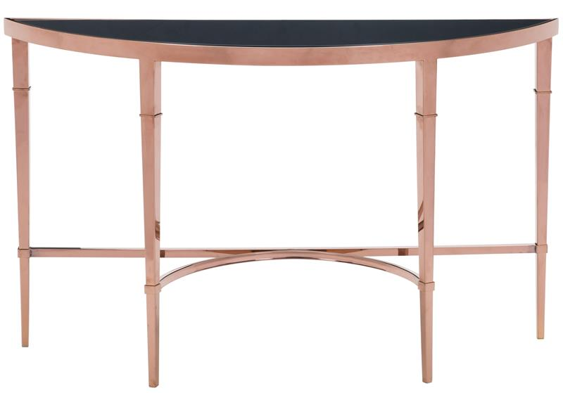 Zuo Elite Console Table Rose Gold Legs And Black Glass Top