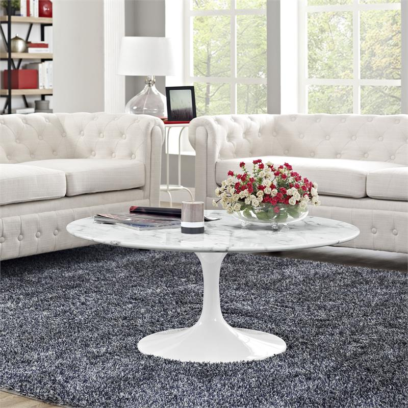 Flower Round Coffee Table Mid Century Saarinen Inspired Tables Modernselections Com