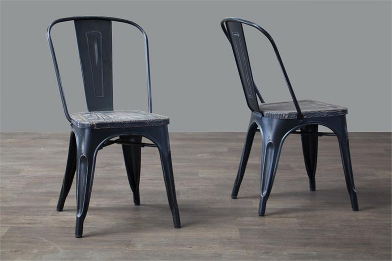 Talix French Industrial Bistro Chair In Antique Black (Set Of 2)