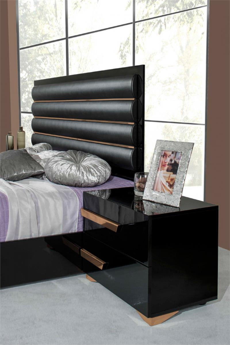 5 Piece Italian Modern Black Amp Rosegold Bedroom Set