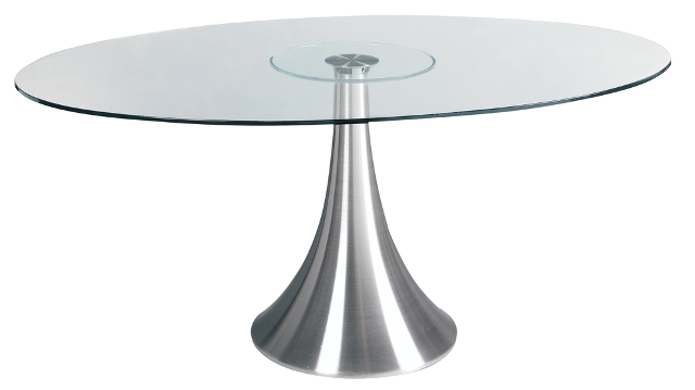 Satellite Oval Glass Dining Table