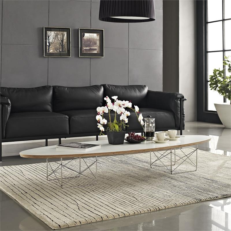 Elliptical Surfboard Coffee Table Black Or White   Modernselections.com    Free Shipping