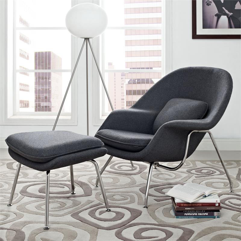 Wombat Lounge Chair And Ottoman Wool Home And Office