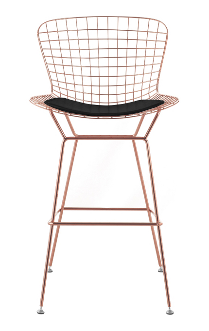 Bertoia Wire Bar Stool In Rose Gold Finish