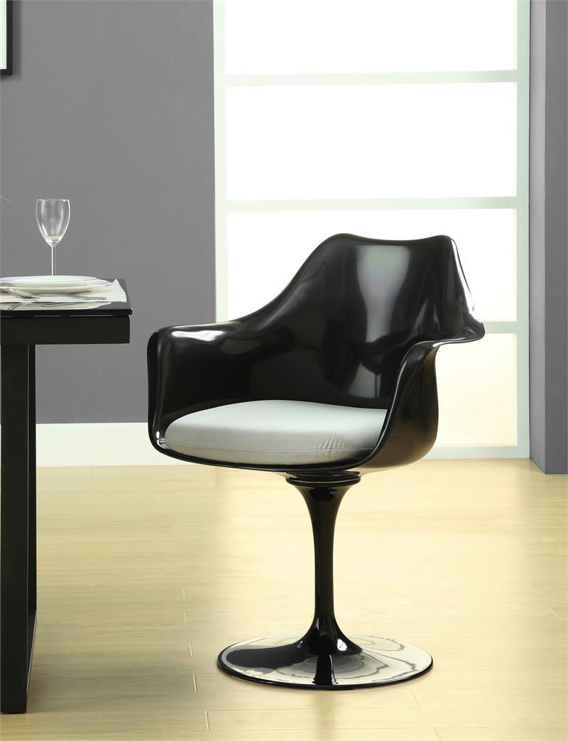 Saarinen Style Tulip Armchair Black Frame Tulip Side