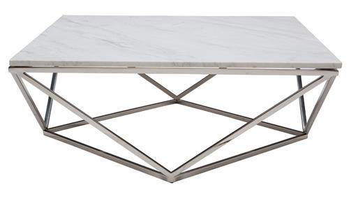 Jasmine Coffee Table Polished Stainless Steel White Marble Top